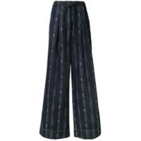 Tory Burch Calça Jeans Pantalona Com Padronagem De Corrente - Azul
