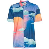 Double Rainbouu Camisa Havaiana Estampada 'wet Dream' - Azul