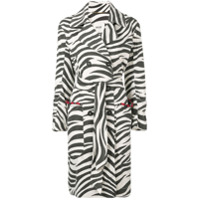 Bazar Deluxe Sobretudo Com Estampa De Zebra - Preto
