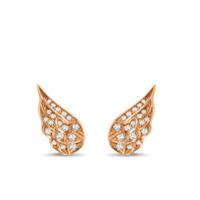 Pragnell Par De Brincos Tiara De Ouro Rosé 18K Com Diamante - Rosa