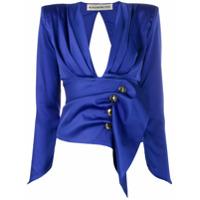 Nineminutes Blusa Com Decote Em V E Botões - Azul