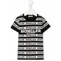 Moncler Enfant Camiseta listrada com logo - Preto - FarFetch BR