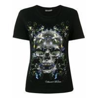 Alexander Mcqueen Camiseta Com Estampa De Caveira Floral - Preto