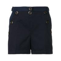Moncler Short Com Botões Decorativos - Azul