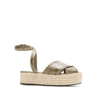 Blue Bird Shoes Espadrille Cruzada Couro Croco - Cinza
