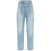Balmain Calça Jeans Cenoura Cintura Alta Com Pregas - Azul