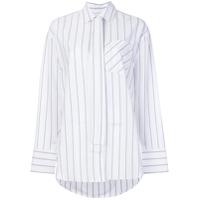 Msgm Camisa Oversized Listrada - Branco