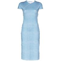 Marcia Vestido Midi Tchikiboum Com Estampa Xadrez - Azul