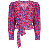 Lhd Blusa Com Transpasse E Estampa Floral - Rosa