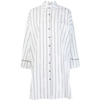 Balossa White Shirt Striped Shirt Dress - Branco
