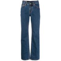 Kaimin Calça Jeans Reta Com Detalhe De Recortes Vazados - Azul