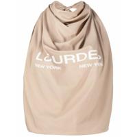 Lourdes Blusa Cropped Frente Única Com Estampa De Logo - Marrom