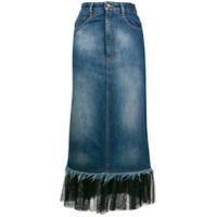 House Of Holland Saia Jeans Com Tule Na Barra - Azul