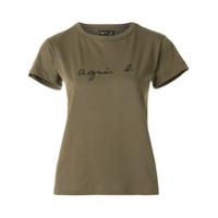 Agnès B. Camiseta Decote Careca Com Logo - Verde