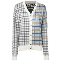 Aalto Plaid Contrast Cardigan - Branco