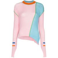 I-Am-Chen Suéter Color Block Canelado - Rosa