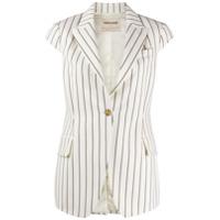 Roberto Cavalli Striped Cap-Sleeve Jacket - Branco