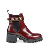 Gucci Ankle Boot Com Aplicação De Cristais - Vermelho