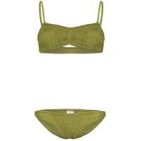 Hunza G Trina Ruched Bandeau Bikini - Verde