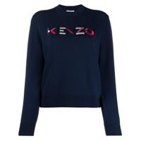 Kenzo Suéter De Lã Com Logo Bordado - Azul
