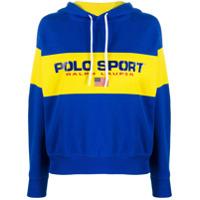 Polo Ralph Lauren Moletom Color Block Com Logo E Capuz - Azul