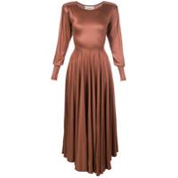 Lemaire Vestido Assimétrico Acetinado - Marrom
