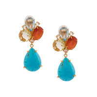 Bounkit Jewelry Par De Brincos Com Pedra Pendente - Azul