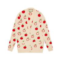 Gucci Cardigan Gg Apple De Tricô - Neutro