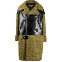 Junya Watanabe Trench Coat Com Recorte Contrastante - Preto