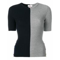 Thom Browne Suéter Bicolor De Lã Merino - Cinza