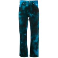 Msgm Calça Jeans Cropped Tie-Dye - Azul