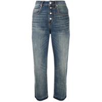 Isabel Marant Étoile Calça Jeans Cropped Belden Cintura Alta - Azul
