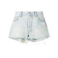 Off-White Short Jeans Com Efeito Desbotado - Azul