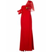 Badgley Mischka Vestido De Festa Assimétrico Drapeado - Vermelho