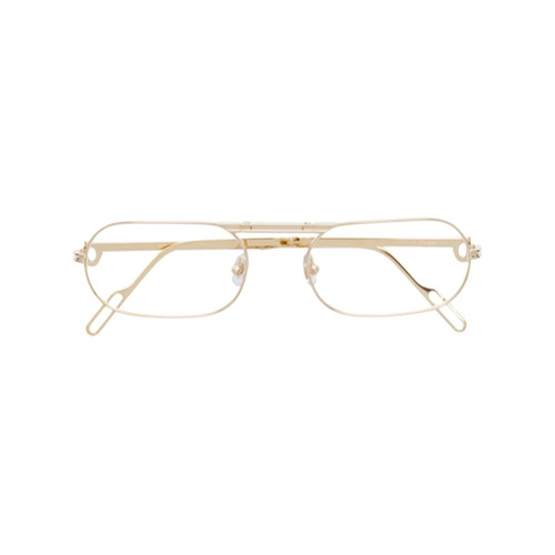 bf7c76a68d818 Imagem de Cartier Armação de óculos arredondada - Dourado