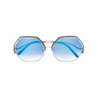 Linda Farrow Gallery Óculos De Sol Geométrico Oversized - Azul