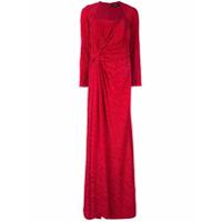 Badgley Mischka Vestido De Festa Drapeado - Vermelho