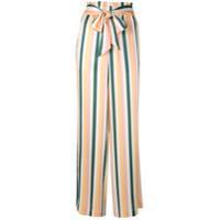 Asceno Calça Pantalona Listrada - Amarelo