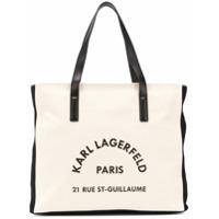 Karl Lagerfeld Bolsa De Praia Rue Lagerfeld - Branco