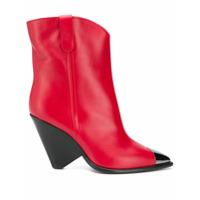 The Seller Ankle Boot Com Bico Metalizado - Vermelho