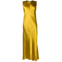 Ann Demeulemeester Vestido Longo De Cetim - Amarelo