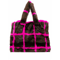 Stand Faux Fur Checked Tote - Marrom