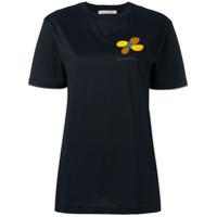 Christopher Kane Camiseta Com Bordado De Flores - Preto
