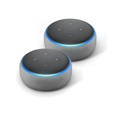 2er Pack Amazon Echo Dot 3. Generation Smart-Speaker mit Alexa, Hellgrau Stoff,