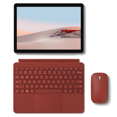 Microsoft Surface Go 2, 128GB mit 8GB RAM und LTE inkl. Signature Type Cover in Mohnrot Mobile Maus in mohnrot