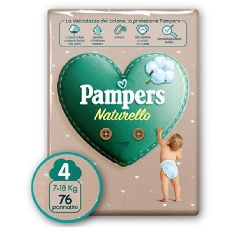 Image of Pampers Naturello Maxi Taglia 4 (7-18 Kg) 76 pz.Offerta a tempo limitato - Affrettati