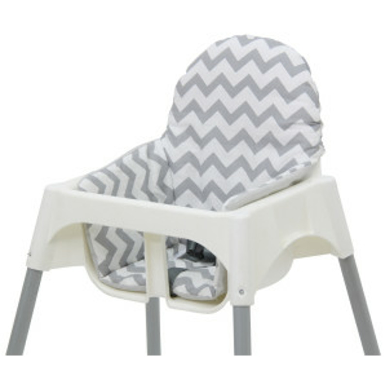Polini Kids Sitzkissen für Ikea Antilop Hochstuhl Zick Zack weiß/grau