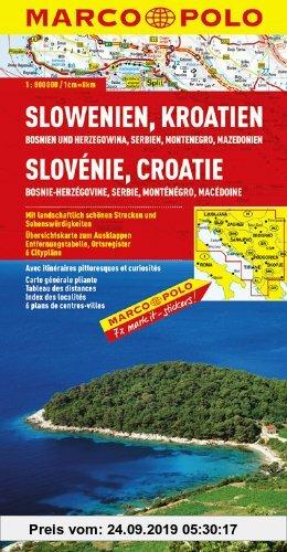 Gebr. - MARCO POLO Länderkarte Slowenien, Kroatien, Bosnien und Herzegowina, Serbien  Montenegro, Mazedonien 1:800.000: Mit landschaftlich schönen Str