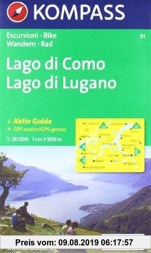 Gebr. - Kompass Karten, Lago di Como, Lago di Lugano: Wandern / Rad. Escursioni / bike. GPS-genau (Aqua3 Kompass)