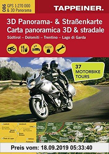 Gebr. - 3D Panorama- und Motorradkarte - Südtirol - Dolomiten - Gardasee, Straßenkarte 1:270.000 mit großem 3D Alpenpanorama und Motorrad-Tourentipps